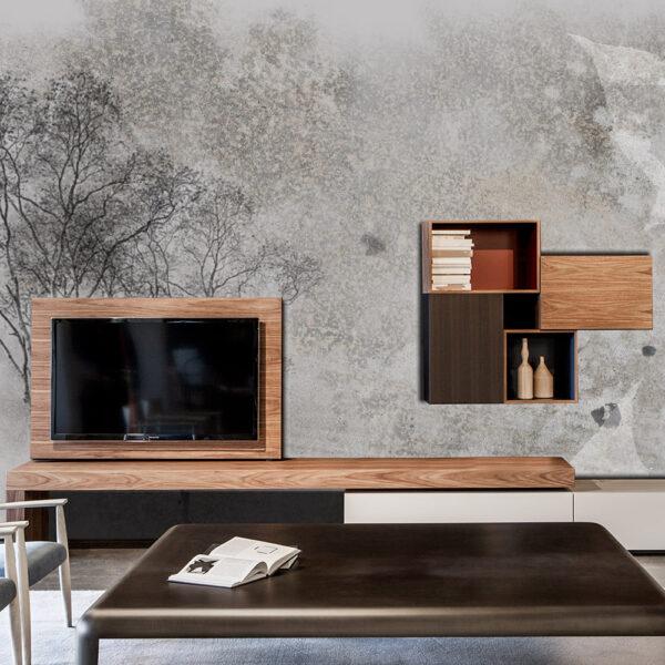 Lufo store adesivo per parete alberi stilizzato grigio for Carta da parete adesiva