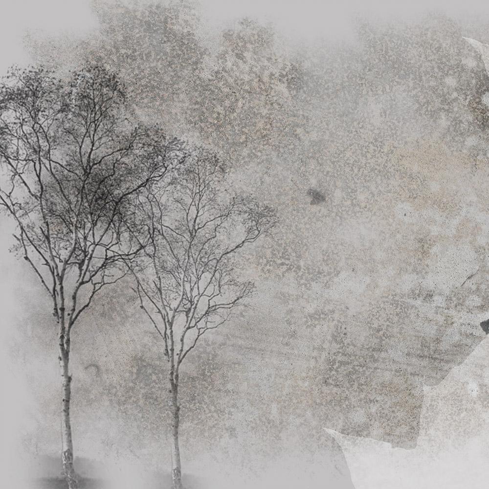 Lufo store adesivo per parete alberi stilizzato grigio for Carta da parati 70